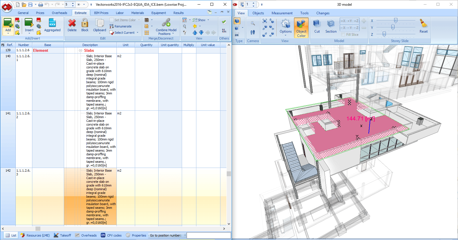 Displaying of a selected floor, storeys slide, area measurement, presentation of properties of an element.