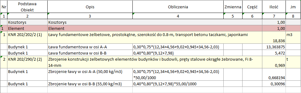 Eksport przedmiaru z wyliczeniami ilości robót do pliku xlsx