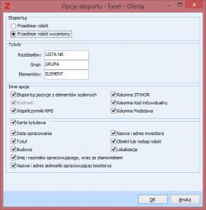Nowy eksport do Excela Oferta 2