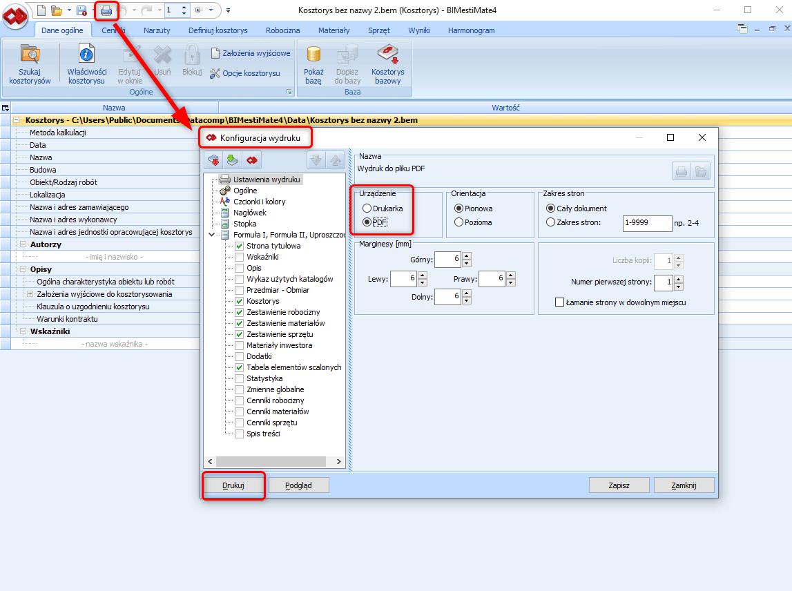 Jak zapisac wydruk kosztorysu w formacie pdf i gdzie go odnalezc 1