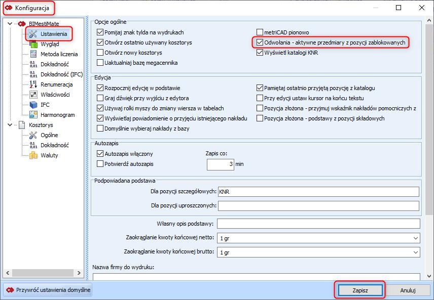 Tworzenie odwołań w zakładce Przedmiar konfiguracja