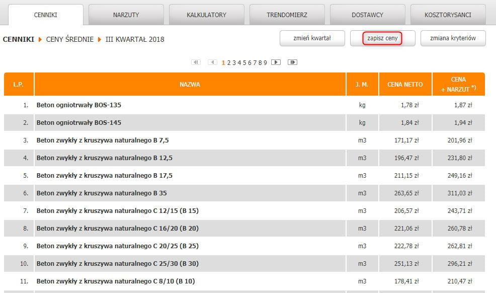 Import cenników archiwalnych Intercenbud 2